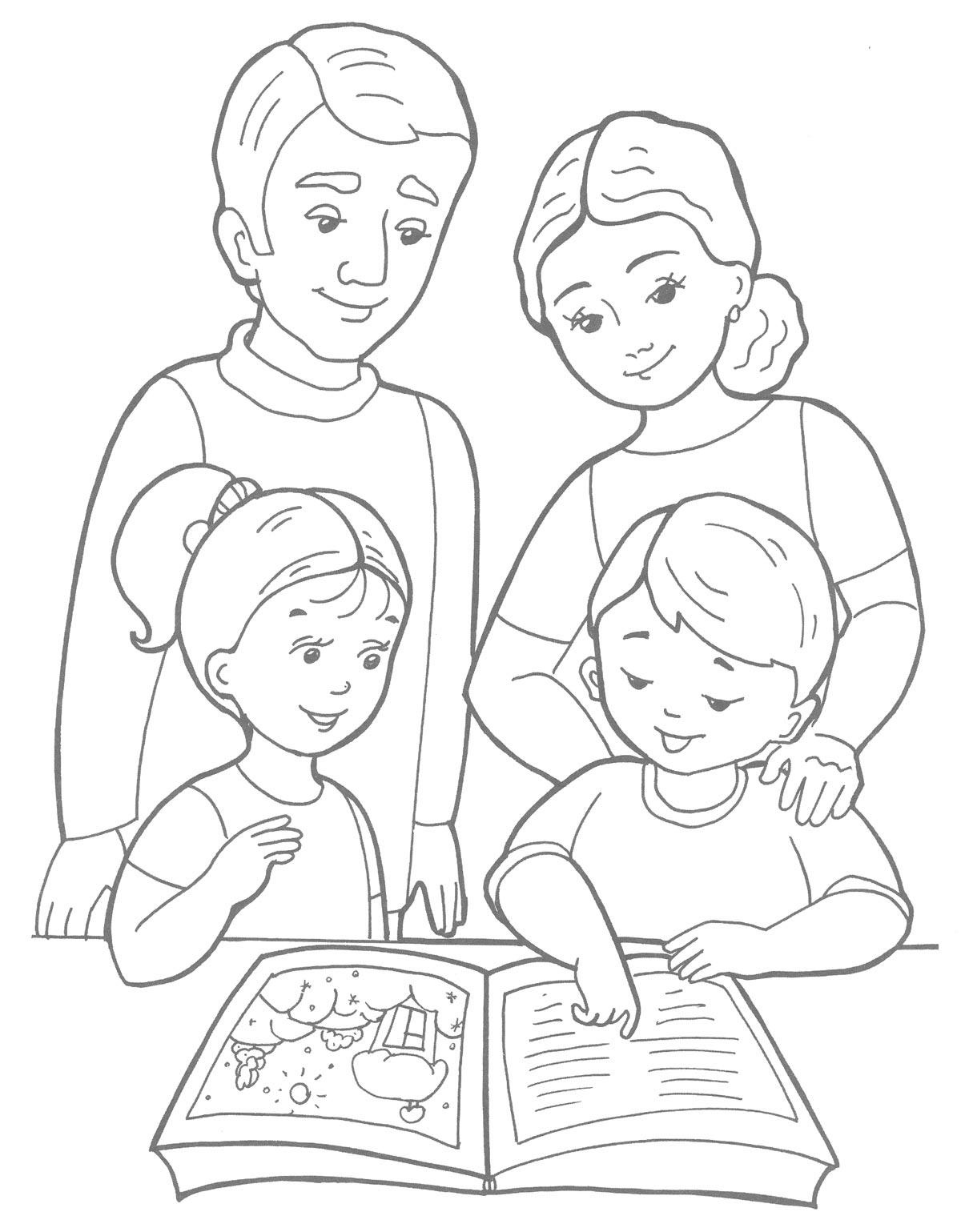 Спорт и семья раскраска