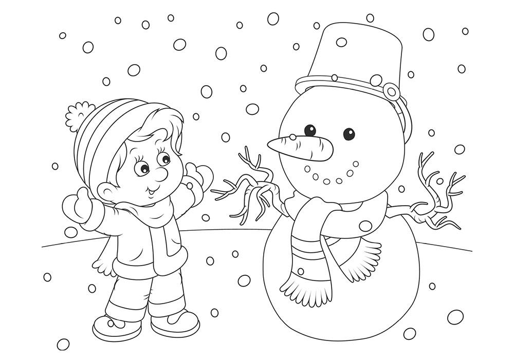 раскраска зимние забавы детские раскраски для мальчиков и