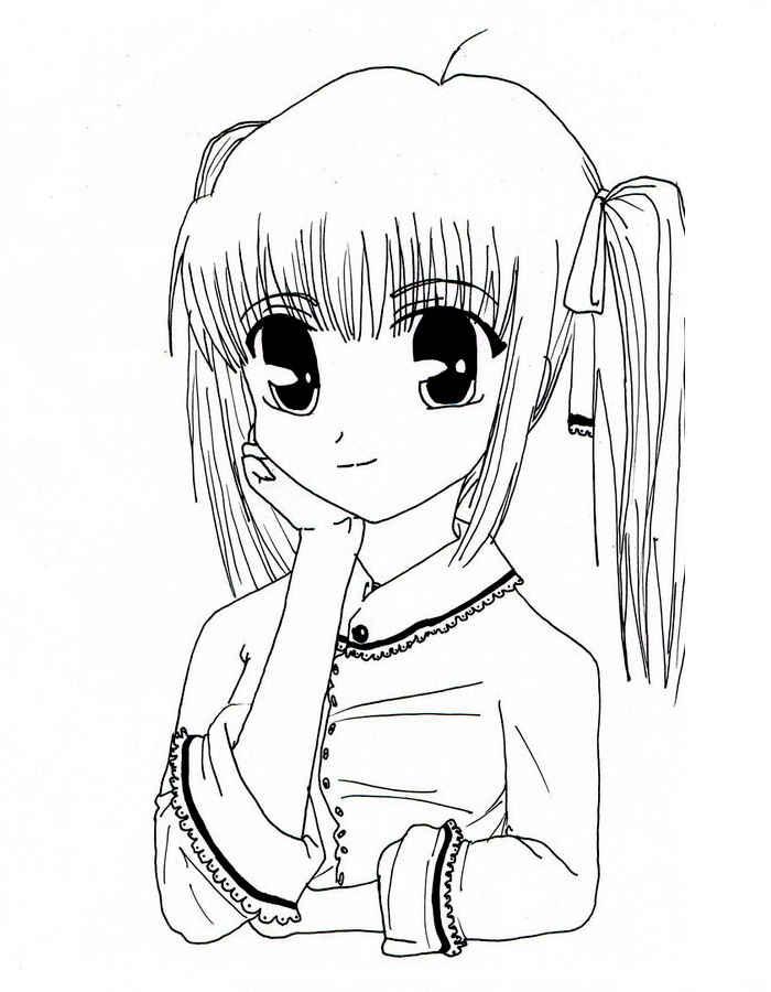 Фото раскрасок для девочек аниме