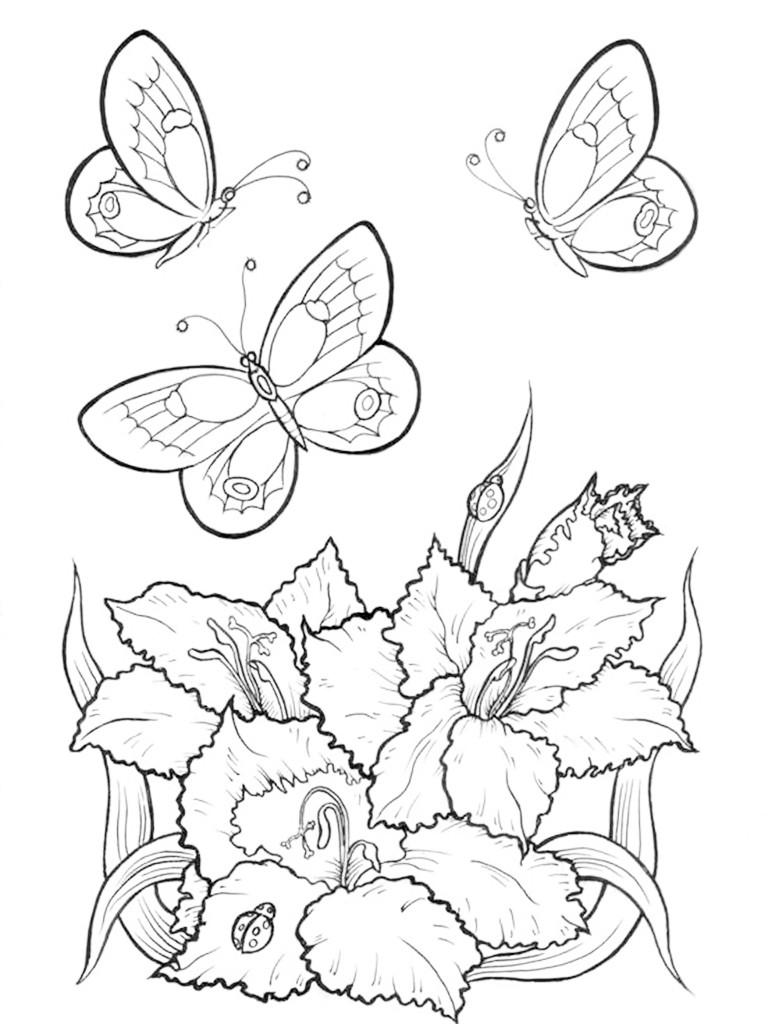 Раскраска для взрослых цветы - распечатать бесплатнол