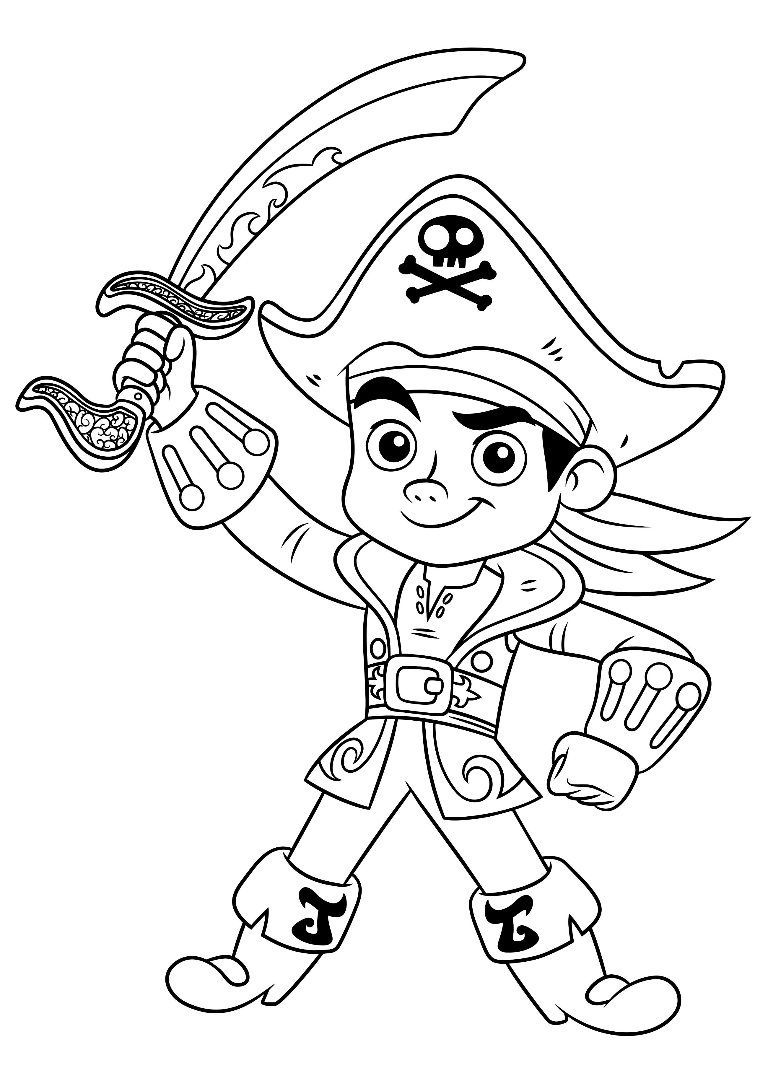 Раскраска джек и пираты нетландии