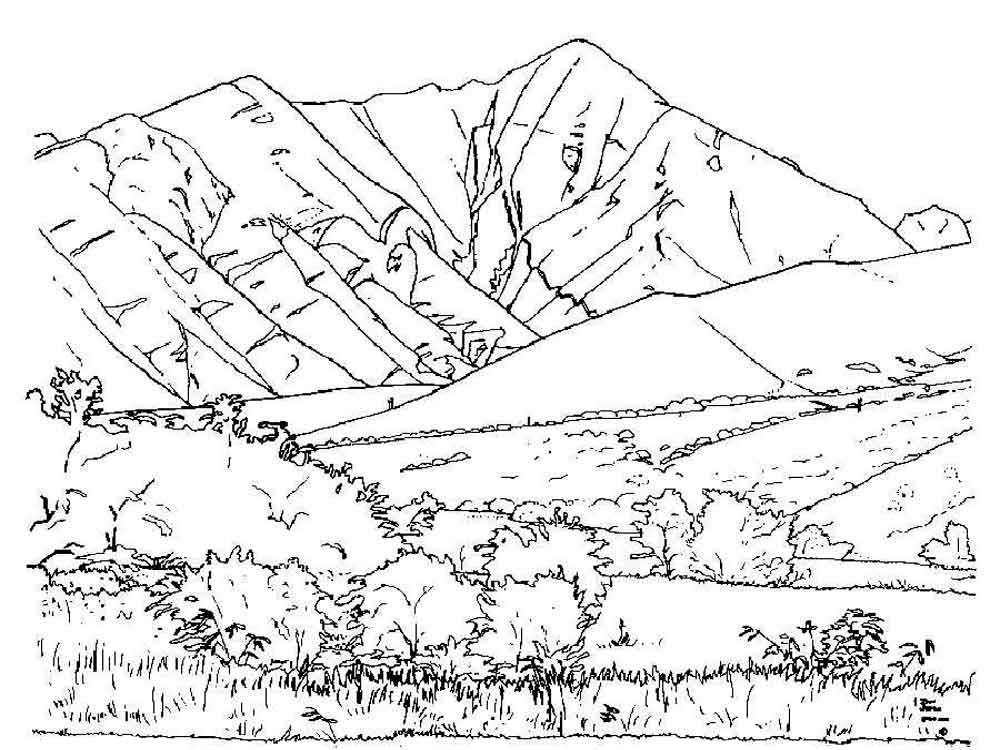 mountains free coloring sheets - Mountain Coloring Pages Printable