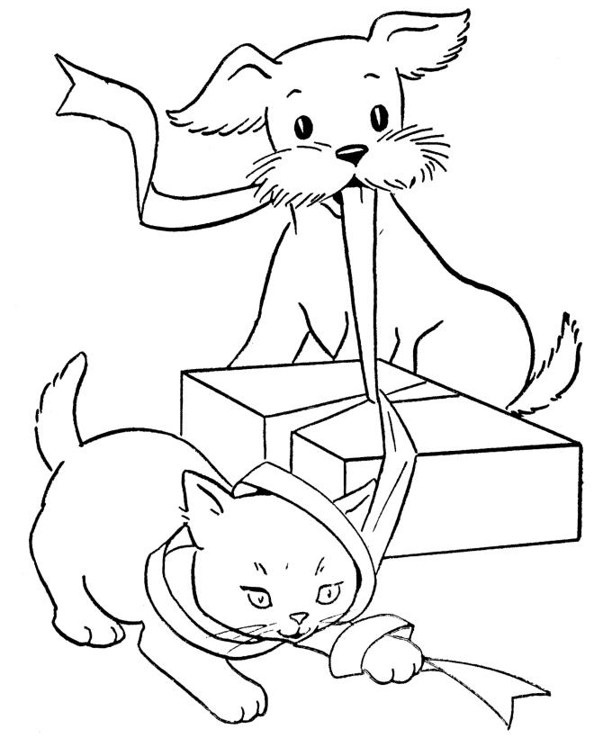Картинки для раскрашивания собаки и кошки