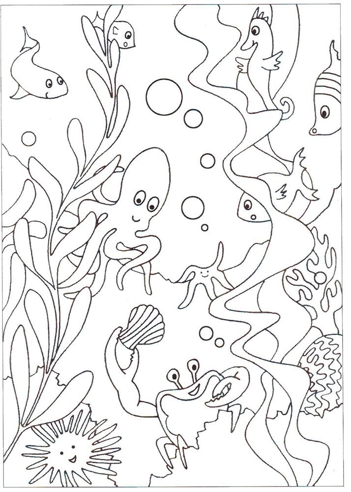 Картинки, картинка подводный мир раскраска
