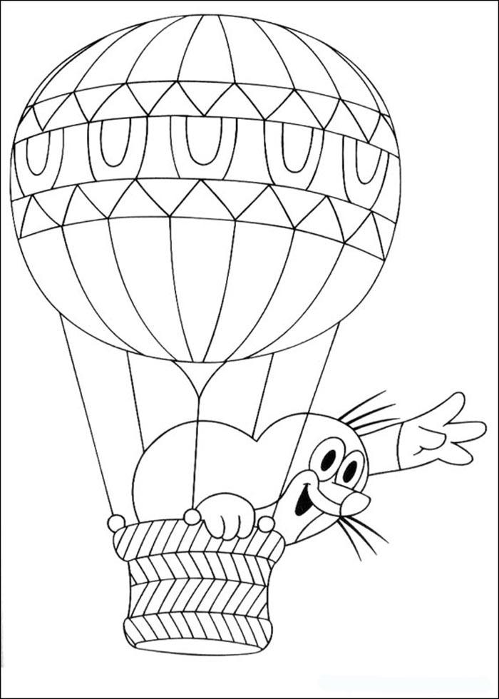 сейчас картинки раскраски воздушный шар с корзиной семья