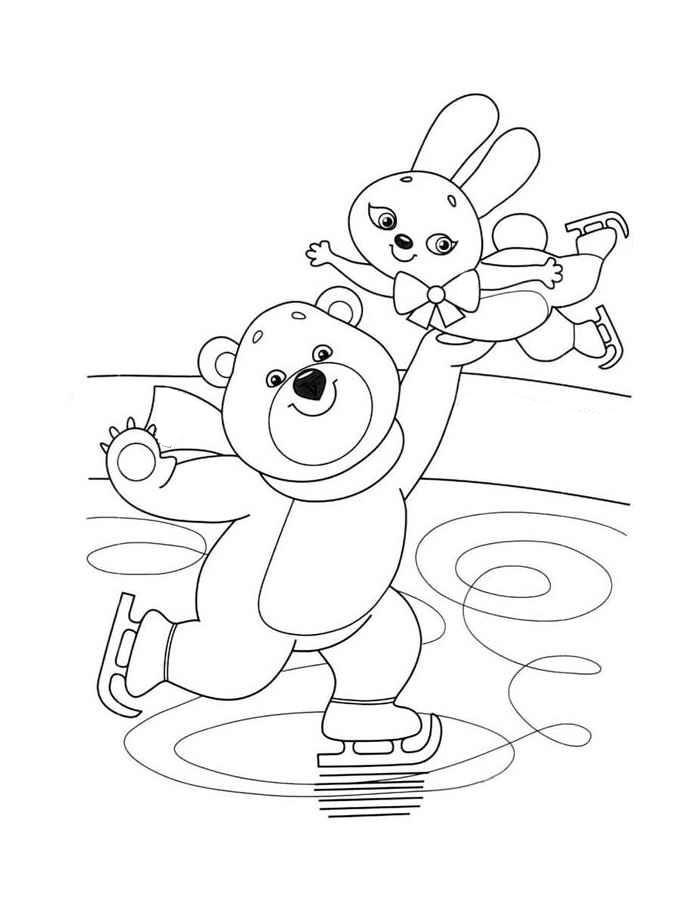 Детские картинки, зимний спорт картинки для детей раскраски