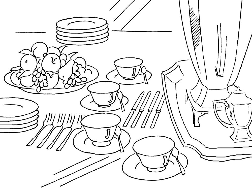 раскрсаки посуда детские раскраски распечатать бесплатно