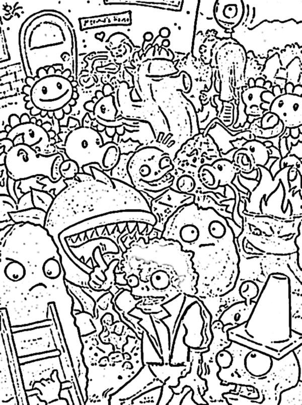 Раскраски для мальчиков зомби против растений распечатать - 4