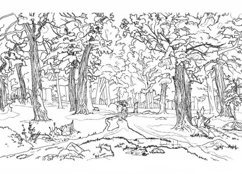 Осенний пейзаж черно белый рисунок