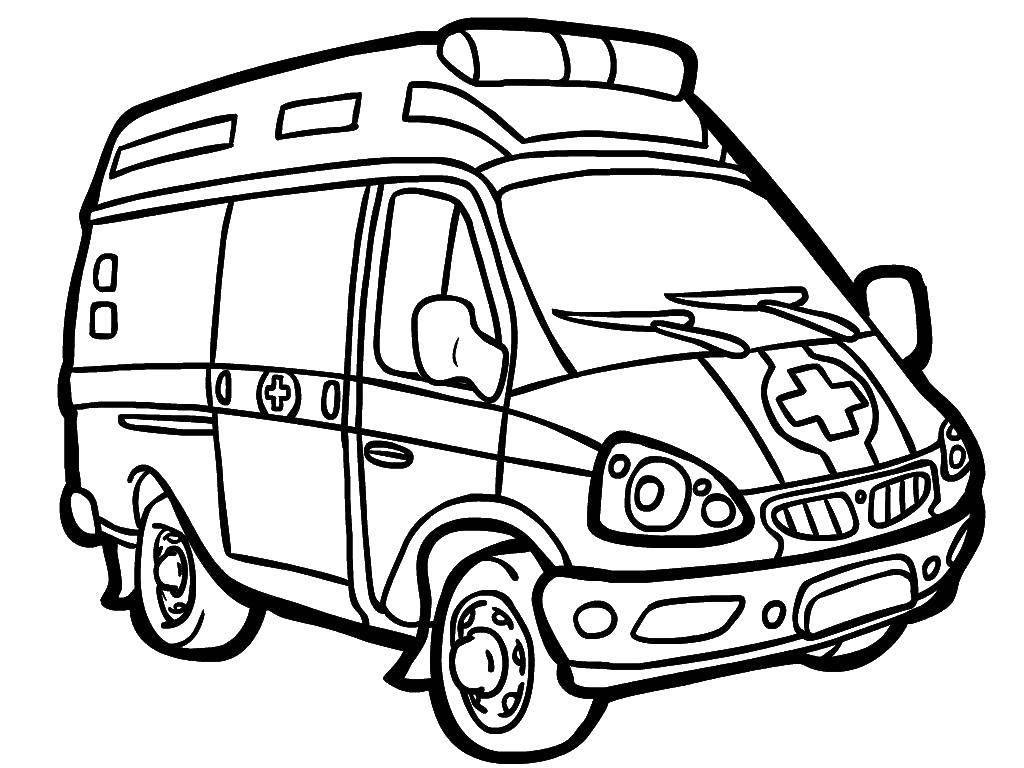 картинки для раскраски машины скорая помощь
