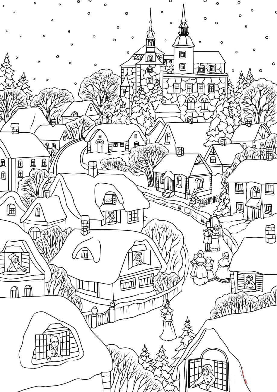 Село раскраска для детей
