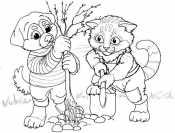 Кошка и собака сажают дерево