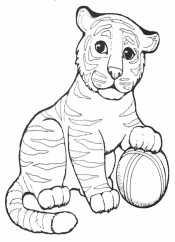 тигр играет с мячиком