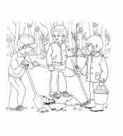Ребята садят деревья 1 мая