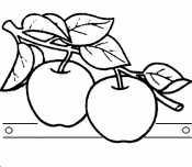 Яблоко с листьями