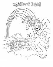 Рейнбоу Дэш играет в облаках