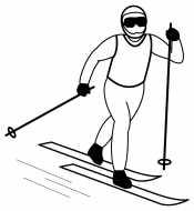 Мужчина на лыжах