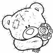 Мишка с букетом