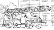 Пожарная машина и большая лестница