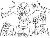 Девочка с цветами на лугу