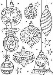 Раскраска Новогодние украшения