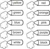 Раскраска по цветам на английском
