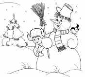 Мальчик и снеговик