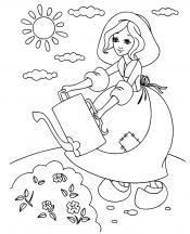 Золушка поливает цветы
