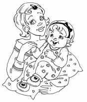 Раскраска мама с дочкой