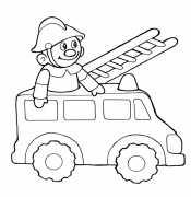 Пожарная машина и пожарник