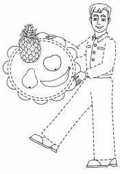 Папа с фруктами