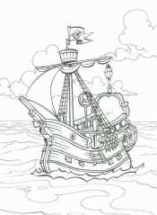 Раскраска Пиратский корабль