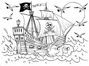 Пиратский корабль с флагом