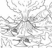Раскраска извержение вулкана
