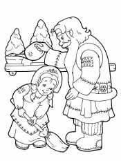 Снегурочка помогает дедушке