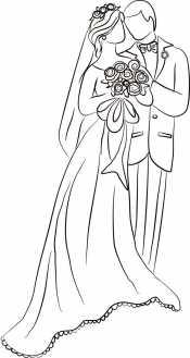 Счастливые невеста и жених
