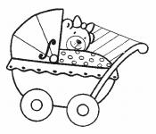 Раскраска Коляска с мишкой