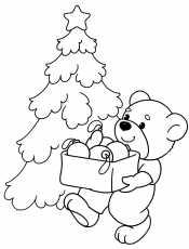 Новогодний мишка у елки