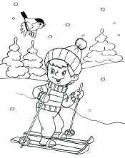 Раскраска мальчик на лыжах