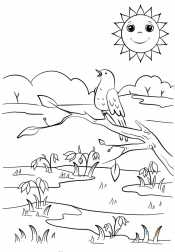 Весенний пейзаж. Птица