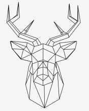 Оригами олень с рогами