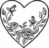 Раскраски сердечко цветы