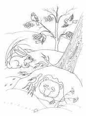 Медведь спит в зимнем лесу