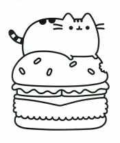 Кавайный кот на бургере