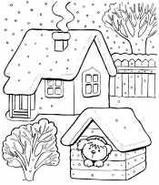Зимний домик и собака