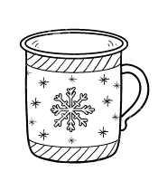 Раскраска Кружка со снежинкой