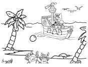 Пиратский корабль стреляет