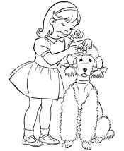 Раскраска Пудель и девочка