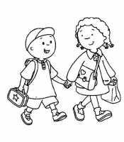 Девочка и мальчик идут в школу