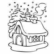 Зимний домик и елки